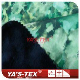 涤纶四面弹复合短毛绒面料 手感柔滑 加厚保暖耐磨 印花麂皮绒