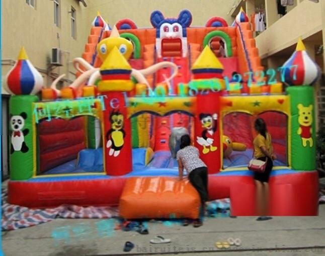 新款組閤兒童充氣滑梯城堡 攀巖充氣滑梯加工定製 遊樂場充氣城堡