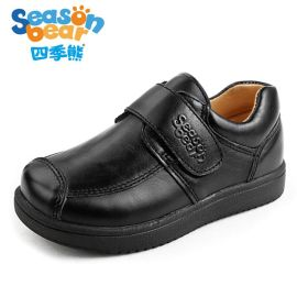 四季熊真皮儿童黑色皮鞋春夏小童鞋英伦学院风黑演出表演鞋