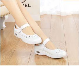 天使美足1508新款真皮白色护士鞋抗震弹力气垫女单鞋防滑工作鞋