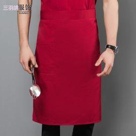 工厂批发 半身厨师涤棉大围腰 酒店餐厅咖啡厅后厨工作围裙定制