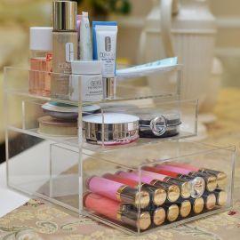 创意透明多层抽屉式化妆品收纳盒桌面梳妆台收纳箱亚克力储物盒