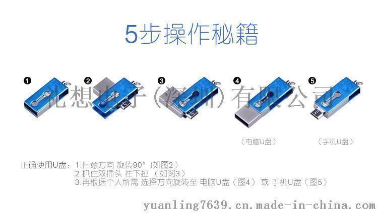 手机u盘创意旋转金属迷你优盘安卓电脑两用双头扩展otg u盘批发