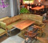 胡桃里音乐餐厅酒吧全套家具定制 复古做旧转角沙发卡座