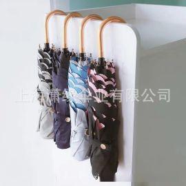 彎柄折疊傘、彎柄自動三折商務晴雨傘、禮品折疊傘定制