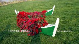 江南木船手工制作欧式养花船景观木船休闲手划船