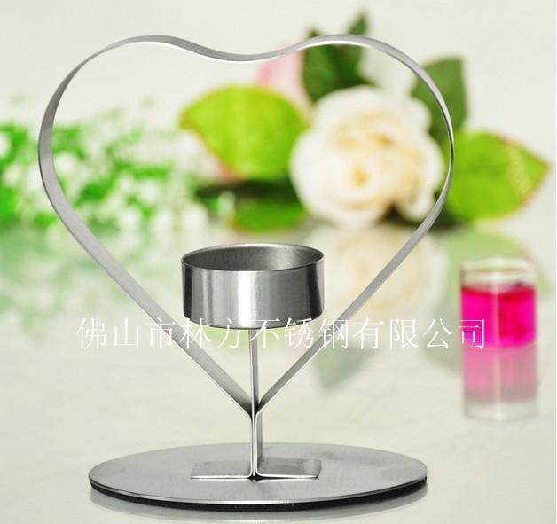 浪漫心形不鏽鋼燭臺,佛山林方專業定做西餐廳燭臺