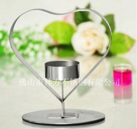 浪漫心形不锈钢烛台,佛山林方专业定做西餐厅烛台