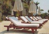 户外木制沙滩椅、酒店实木躺椅、游泳池木躺椅