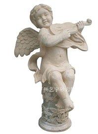 人造砂岩人物雕像 园林景观装饰雕塑  砂岩艺术小天使  玻璃钢雕塑