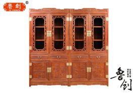 红木书柜 花梨木明式书柜 中式仿古组合书架