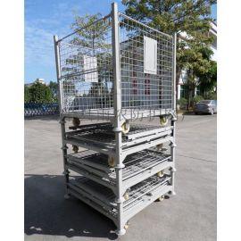 带脚轮 折叠式仓储笼 蝴蝶笼 网笼 组装堆叠金属笼 铁笼子