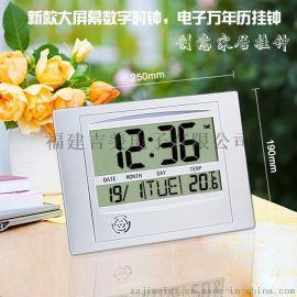超清晰大屏数字挂钟表 创意时钟 家居办公室挂钟 温度计 万年历
