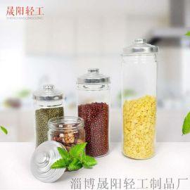 柱形圆口储物罐 日常收纳存储用玻璃瓶 茶叶瓶罐  奶粉罐  玻璃果汁罐 厂家直销 外贸出口