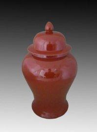 色釉窑变瓷中国红将军罐