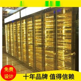 酒店恆溫酒櫃 別墅不鏽鋼酒架 黃金珠寶展示櫃定制