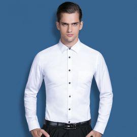 新款男士白色長袖襯衫韓版修身商務正裝職業工裝襯衣