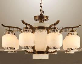 厂家直销西班牙云石全铜灯云石灯具客厅吊灯