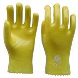 順興廠家批發 PVC 勞保手套 作業手套 浸膠黃色耐油防酸鹼28cm