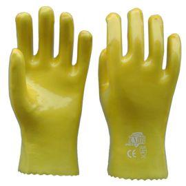 顺兴厂家批发 PVC 劳保手套 作业手套 浸胶黄色耐油防酸碱28cm