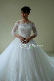 2017广州源头厂家超蓬1.5大拖尾奢华性感一字肩7分袖蕾丝钉珠婚纱