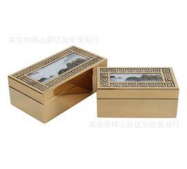 不锈钢金属金色长方形山水图玻璃首饰收纳盒样板间软装摆件欧式