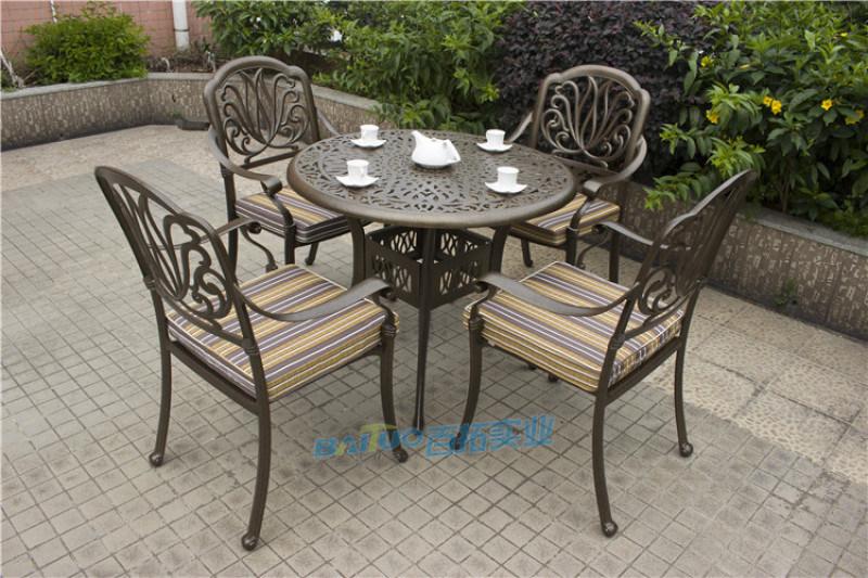 户外桌椅组合庭院露天阳台室外带伞休闲铸铝桌椅五件套