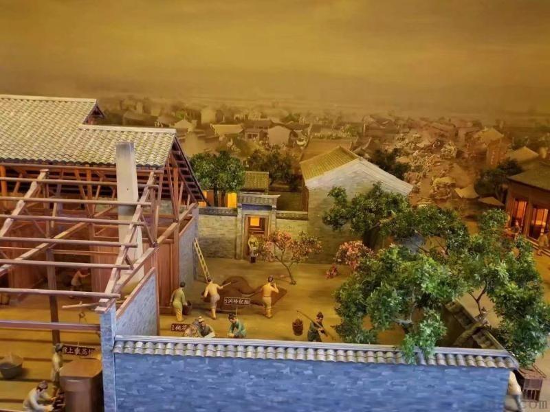 古建場景沙盤訂製,模擬場景復原沙盤,古代場景半景畫