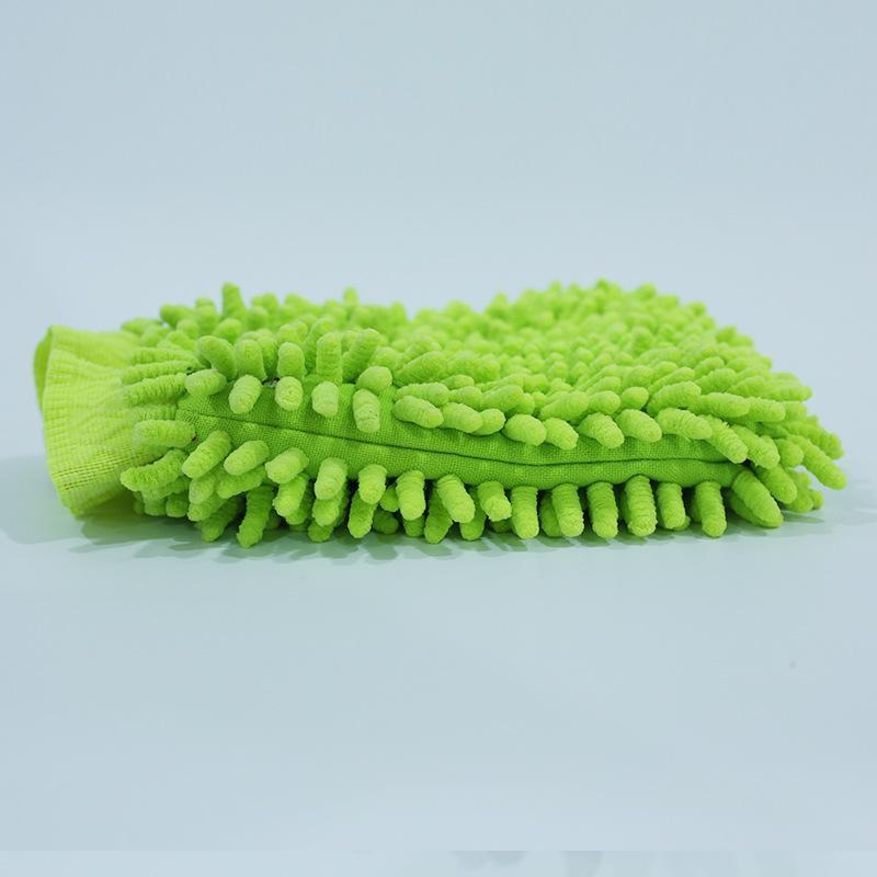 4S店洗车绿色雪尼尔手套珊瑚虫家务吸水手套金属玻璃清洁擦拭手套