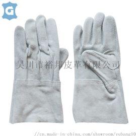本色牛二层皮革工作劳保防护手套
