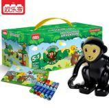 欢乐客早教儿童积木五合一小套装猴子婴儿玩具启蒙积木 塑料 拼插