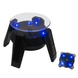厂家**太阳能旋转展示台360度旋转 太阳能手机珠宝玉器小产品展示架 带LED灯