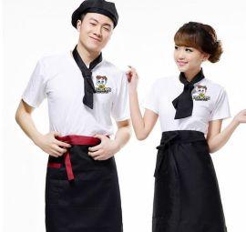 定做夏季短袖男女圆领工装T恤衫奶茶店工服可定制刺绣