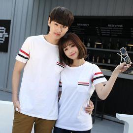 韩版大码圆领纯棉短袖T恤夏季情侣工作服学生T恤衫印字企业LOGO