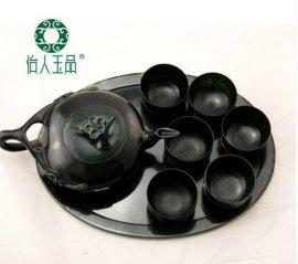 墨绿玉茶具茶壶6只杯子 托盘 活磁黑绿玉净化保健茶具酒具 水上漂