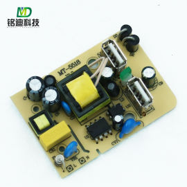 余姚线路板铭迪科技双口USB电源插座控制板方案