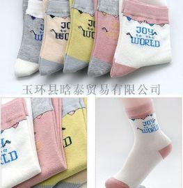 秋冬新款女士棉袜 全棉休闲中筒袜中厚提花透气排汗女袜