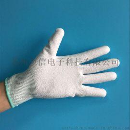 供应13针碳纤维PU涂掌尼龙线手套 灰色涂层浸胶 防静电涂掌手套