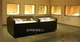 博物馆展示柜、自动开启博物馆平柜、深圳高档博物馆展柜设计制作厂家