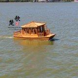 山西長沙 遼寧哪余有4.8米電動船觀光小畫舫純手工中式木頭船旅遊戶外觀光船