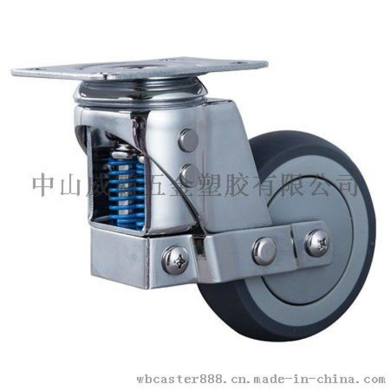 厂家直销中型减震脚轮双弹簧TPR材质静音耐磨