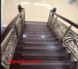 锢雅青古铜铝板镂空雕花楼梯护栏
