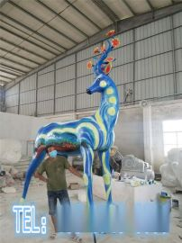 园林景区玻璃钢长颈鹿模型雕塑彩绘动物模型定制