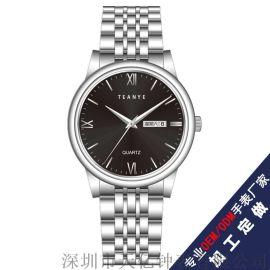 深圳手表工厂男士不锈钢皮带全自动机械双历手表