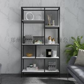 客厅落地装饰展示架卧室创意铁艺金色实木书架