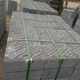 厂家  青石板材人工斩道面 青石台阶 复古栈道石 铺地条石