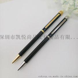 烤漆黑色广告礼品笔 金属旋转圆珠笔 细长广告笔