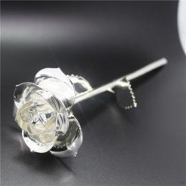 黛雅定制款银色镀金玫瑰花 优雅情人节生日礼物 厂家直销