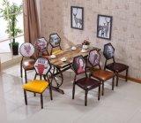 美式乡村咖啡厅桌椅沙发组合个性主题西餐厅桌椅复古仿实木牛角椅