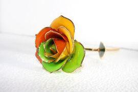 黛雅名贵鲜玫瑰花镀金 七彩色 贵重礼品 精致工艺品 镀金玫瑰花厂家批发